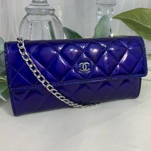 Chanel patent blue chained wallet